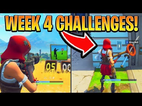 Fortnite ALL WEEK 4 CHALLENGES GUIDE! - SHOOTING GALLERIES Locations, Banner (Battle Royale Season 6