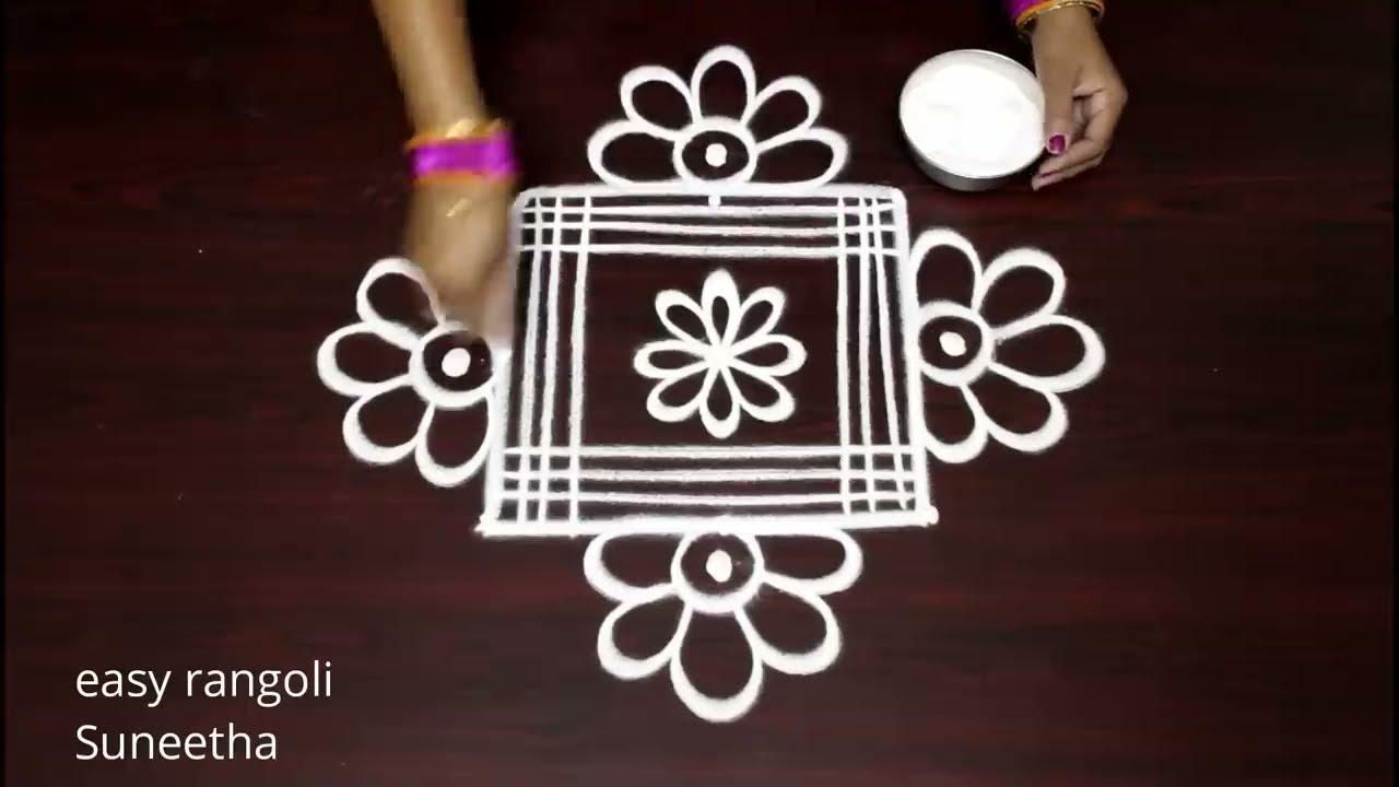peacock theme rangoli design muggulu for beginners by suneetha
