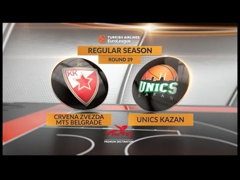 EuroLeague Highlights RS Round 29: Crvena Zvezda mts Belgrade 83-65 Unics Kazan