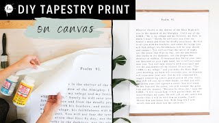 NO WRITING NEEDED! DIY Easy Bible Verse print turned into fabric to create a tapestry!!
