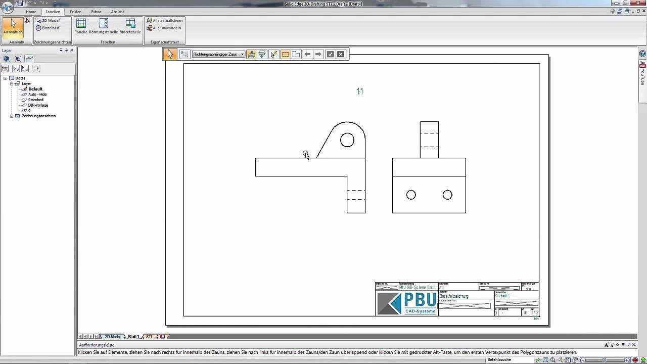 Vorschaubild: Solid Edge: Zeichnungserstellung mit 2D Drafting