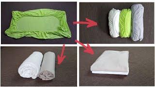 Сложить простыню на резинке легко! РАЗНЫЕ СПОСОБЫ складывания натяжных простынь КОМПАКТНО!