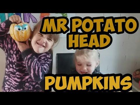 Pumpkin making mr potatoe head