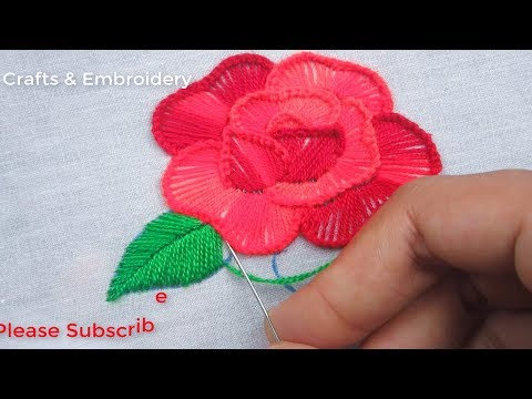 Hand Embroider, Beautiful Rose Flower Embroidery Tutorial, Button Hole Stitch