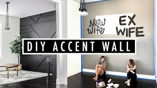 black accent wall diy | Geometric wood accent wall | Pinterest inspired accent wall