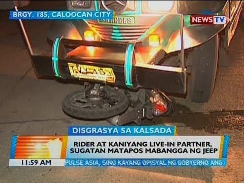 [GMA]  BT: Rider at kaniyang live-in partner, sugatan matapos mabangga ng jeep