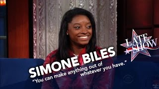 Simone Biles Teaches Stephen To Stick The Landing