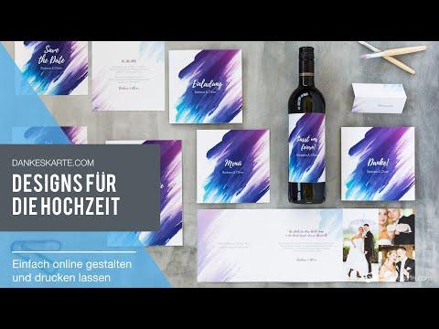 Designserien für die Hochzeit online gestalten und drucken lassen - Dankeskarte.com