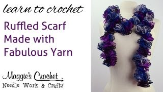 Easy Crochet Ruffled Scarf Made With Fabulous Yarn - Right Handed