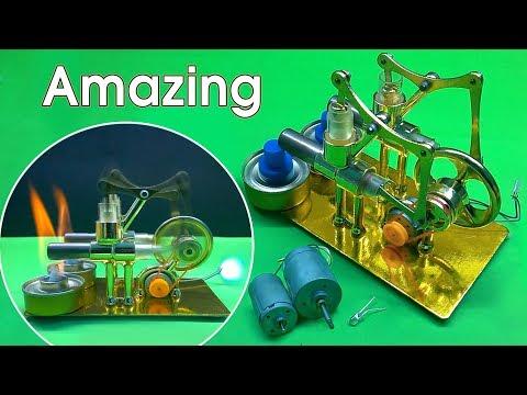 Kinh Ngạc Với Cỗ Máy Phát Điện Sử Dụng Động Cơ Stirling Đốt Ngoài 4 Piston ( Stirling Engine )