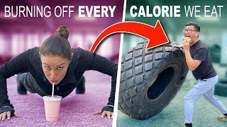 Working OFF every Calorie we CONSUME for 24 hrs // GIRLS vs BOYS CHALLENGE Feat. Pro Wrestlers