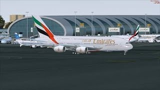 FSX: Emirates Airbus A380-800 - Amsterdam Schiphol (EHAM) to