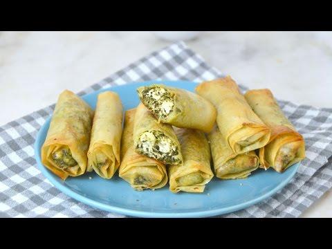 Rollitos de espinacas y queso feta ¡Fáciles, rapidos y deliciosos!