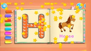 Lear How to write the letter 'H' in capitals. Trace, Learn & Have Fun.