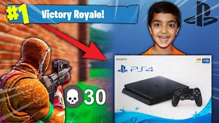 I told my 5 year old little brother if he gets a victory royale in Fortnite I will buy him a PS4! - dooclip.me