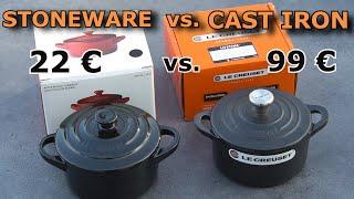 Le Creuset Mini Cocotte STONEWARE vs. enamelled CAST IRON - UNBOXING