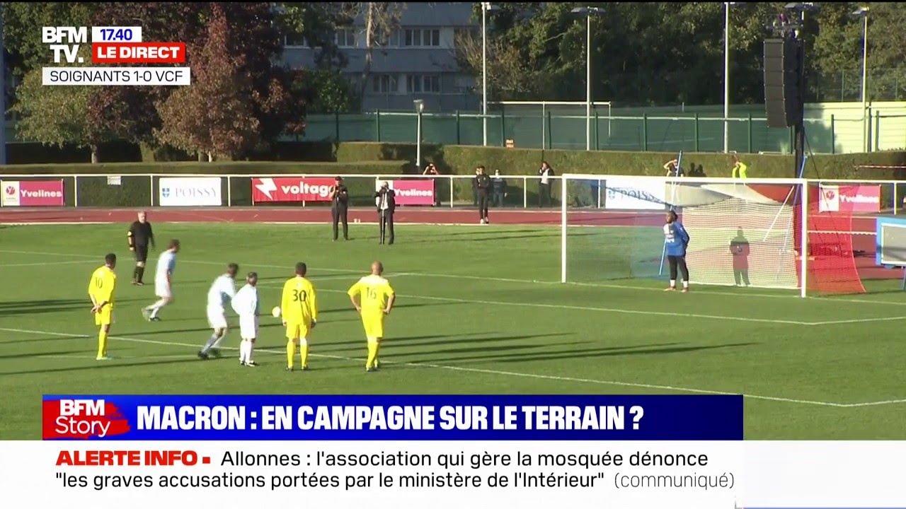 Match du Variétés Club de France: les images du but d'Emmanuel Macron sur penalty