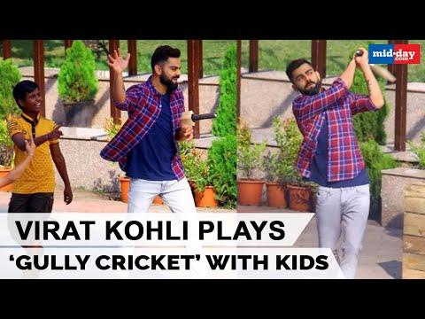 Virat Kohli spotted playing gully cricket with kids