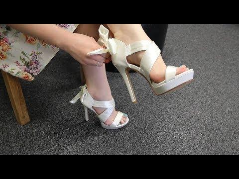 Review Fabulicious Lumina-29 Criss Cross Ivory Satin 4.75 Inch High Heel Sandals