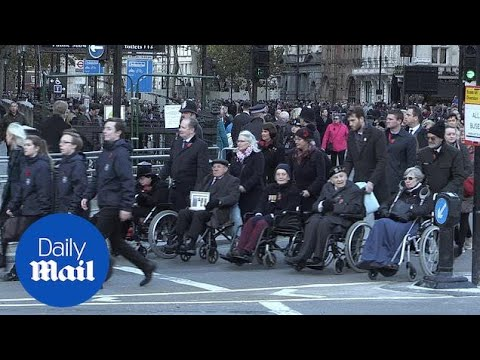 10,000 people march to pay  their respects for the Armistice centenary