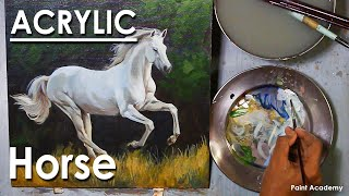 Acrylic Painting : A Running Horse In The Forest | Artist- Supriyo Mondal