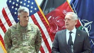 Sec. James Mattis remarks in Afghanistan  April 24, 2017. Gen. Mattis, military leaders..
