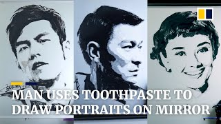 Man in China uses toothpaste to draw portraits on bathroom mirror