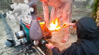 Old Diesel Engine Start Up With Fire   Tubewell Technology   Agriculture In Pakistan