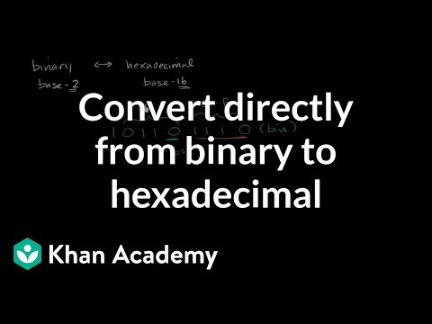 Converting directly from binary to hexadecimal (video) | Khan Academy