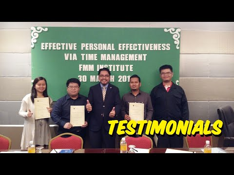 Testimonials: Personal Effectiveness via Time Management (FMM Institute)