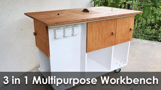 Diy table saw how to make a homemade table saw most popular videos homemade 3 in 1 multipurpose workbench table saw router table and inverted jigsaw keyboard keysfo Choice Image