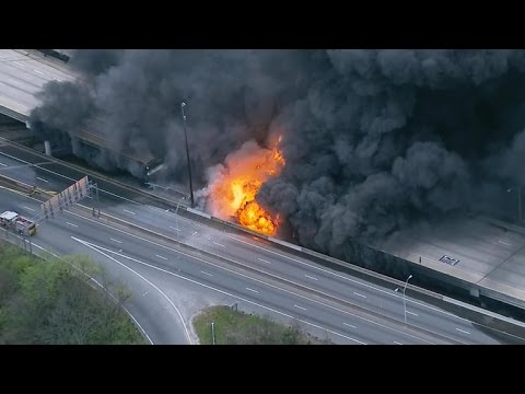 Massive fire causes major Atlanta interstate to collapse