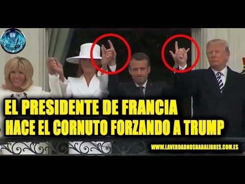 EL PRESIDENTE DE FRANCIA HACE EL CORNUTO FORZANDO A TRUMP