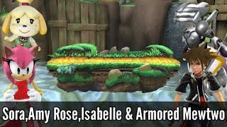 Sora,Amy Rose,Isabelle & Armored Mewtwo - Super Smash Bros. Wii U Mods