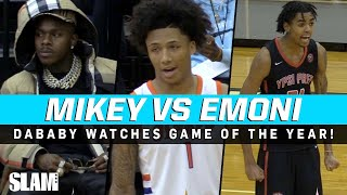 DaBaby pulls up to watch Mikey Williams vs Emoni Bates 🔥 GAME OF THE YEAR?!
