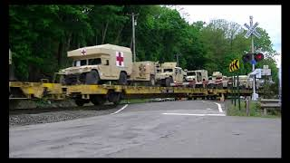 Convoy of Military Trains!!! Four loaded Military trains on the CSX River Sub!
