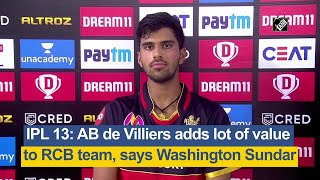 IPL 13: AB de Villiers adds lot of value to RCB team, says Washington Sundar