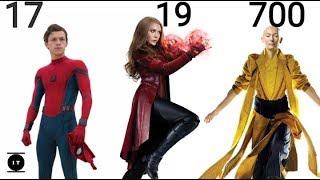 Mcu Characters: Age Comparison - Avengers infinity war