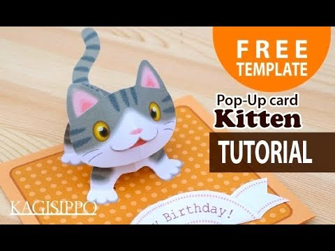 Amazing Pop Up Kitten Card With Template And Tutorial Make The Cut