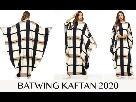 Batwing Rayon Printed Long Kaftan For Women