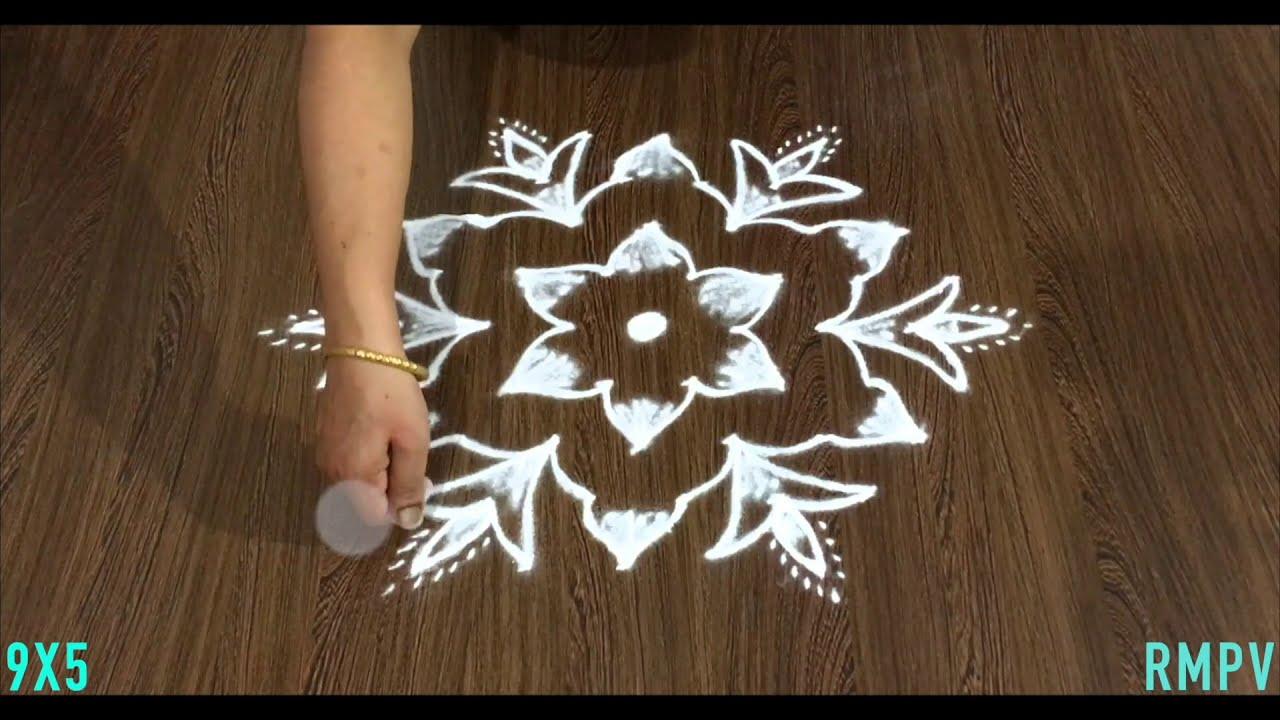 padi dotted rangoli design for beginners