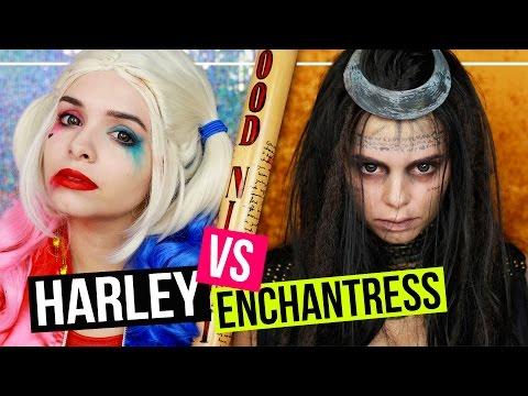 SUICIDE SQUAD - HARLEY QUINN vs ENCHANTRESS - Makeup Tutorial #SPOOKTOBER