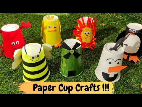 Paper Cup Crafts | Easy Craft for Kids | Lion | HoneyBee | Olaf | Chick | Crab | Windmill | Penguin
