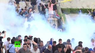 RAW: Greek protesters clash with cops amid Macedonia name row
