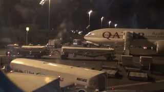 preview picture of video 'Ground Activity Doha International Airport from Onboard Qatar A330'