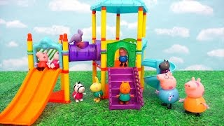 Peppa Pig at the Park ! Toys and Dolls Fun with Peppa and Friends Playing in the Playground | SWTAD