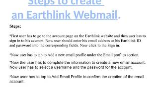 How to create an Earthlink Webmail?