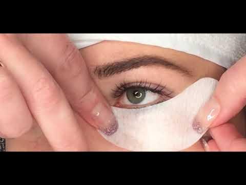 Wimpernverlängerung Augenpad anbringen