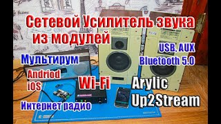 🔝Сетевой Усилитель Звука на базе Up2Stream Arylic, МУЛЬТИРУМ с Wi-Fi , Bluetooth5.0 ...