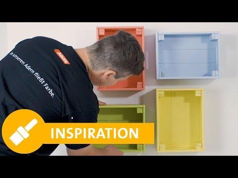 Bunte do it yourself Regale aus Holzkisten - Tutorial für DIY Möbel selber machen